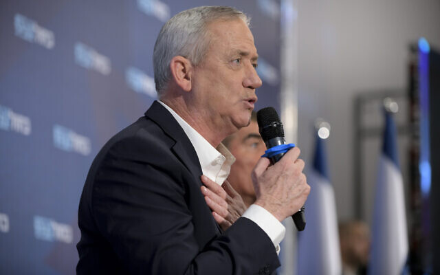 Blue and White chairman Benny Gantz speaks at a campaign event in Kfar Saba on February 12, 2020. (Gili Yaari/Flash90)