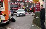 Screen capture from video of the scene after a car crashed into a carnival injuring several people in Volkmarsen, Germany, February 24, 2020. (Twitter)