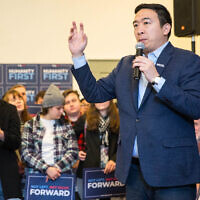 Democratic presidential candidate Andrew Yang speaks at a town hall in Hopkinton, New Hampshire, February 9, 2020. (Scott Eisen/Getty Images via JTA)