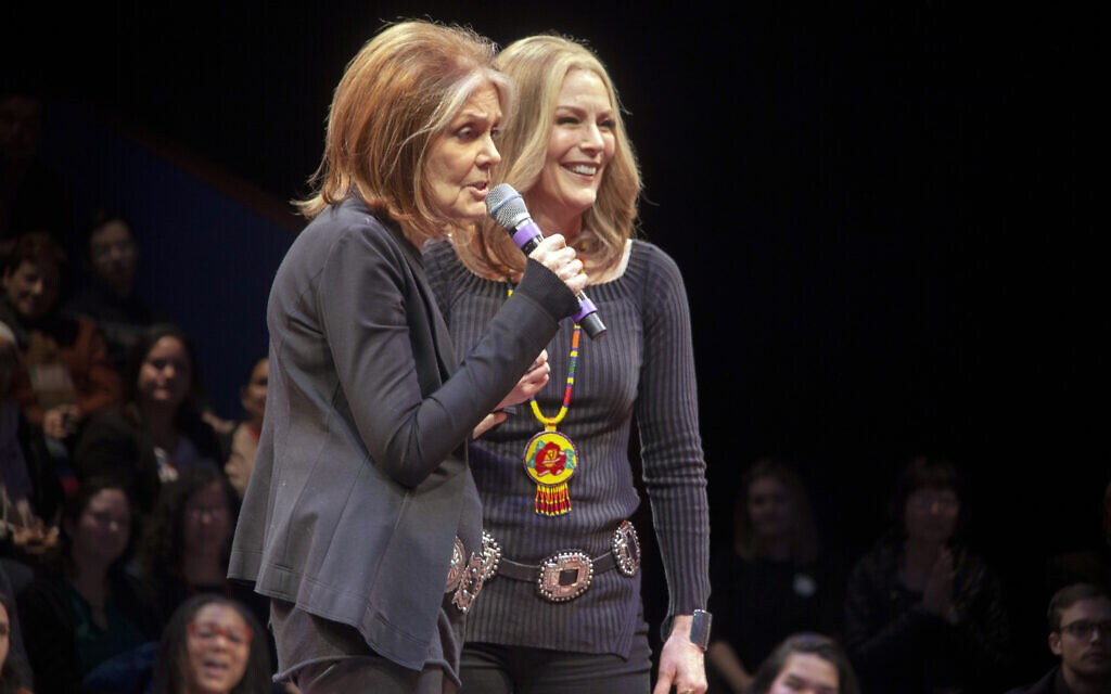 Gloria Steinem (l) surprised the audience on opening night of 'Gloria: A Life,' with Patricia Kalember, who plays the feminist icon in the show by Emily Mann and directed by Diane Paulus. (OJ Slaughter/ Chris Rogers/courtesy American Repertory Theater)
