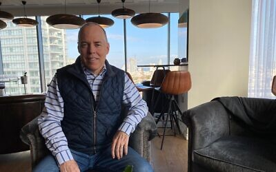 Norm Merritt, the CEO of software testing firm Qualitest, in Tel Aviv; Feb. 2, 2020 (Shoshanna Solomon/Times of Israel)