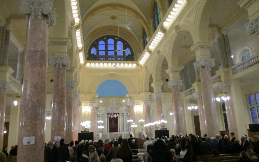 Visitors gather inside the newly renovated Eliyahu Hanavi synagogue in Alexandra, Egypt, February 14, 2020. (Courtesy)