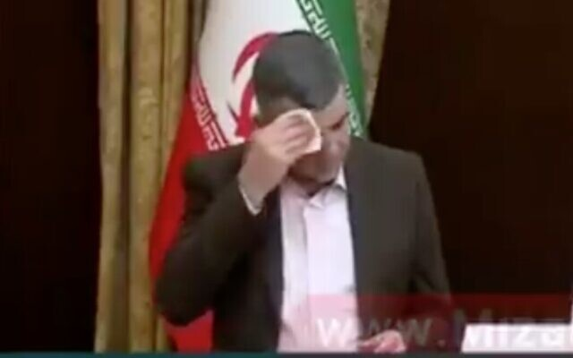 Screen capture from video if Iran's Deputy Health Minister, Iraj Harirchi, during a press conference about the spread of the coronavirus, February 24, 2020. (Twitter)