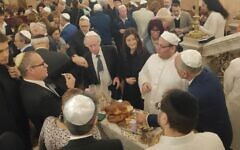 180 Jewish guests from around the world visit the newly renovated Eliyahu Hanavi synagogue in the northwestern Egyptian city of Alexandria on February 14, 2020. (Courtesy)