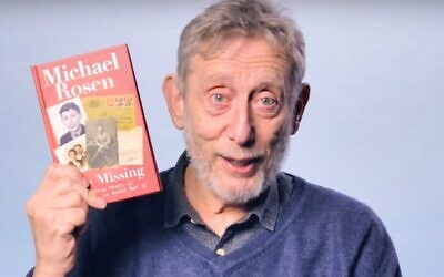 Author Michael Rosen holds his new book, 'The Missing,' in a video explaining its premise to children. (YouTube screenshot)
