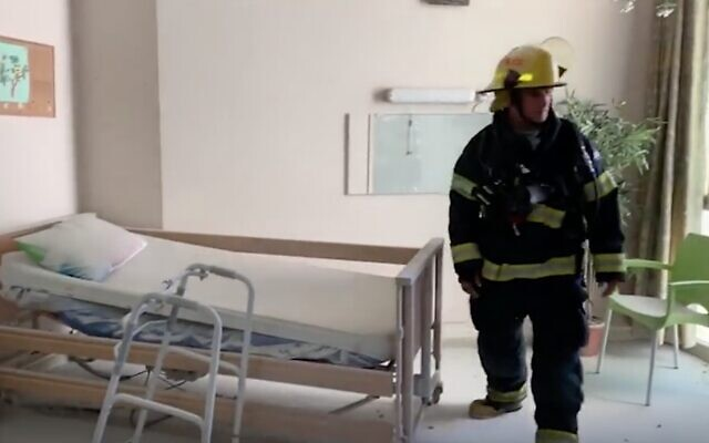 Screen capture from video of the scene of a fire in a Nahariya care home, February 17, 2020. (Ynet)