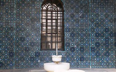 Tiles designed by Armenian artisan David Ohanessian decorate a fountain in East Jerusalem's Rockefeller Museum. (Shmuel Bar-Am)
