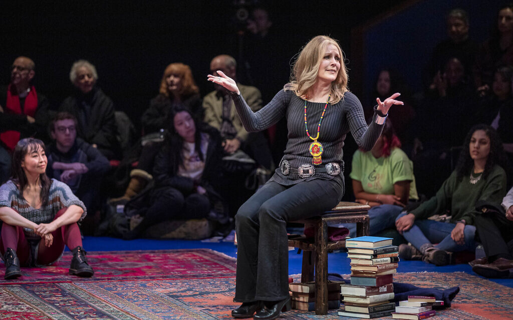 Patricia Kalember as Gloria Steinem, with Eunice Wong from the ensemble in 'Gloria: A Life.' (APrioriPhotography/ courtesy American Repertory Theater)