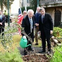 US Ambassador to Israel David Friedman (L) and KKL-JNF head Daniel Atar plant a tree for Tu B'Shvat at the US ambassador's residence in Jerusalem, February 12, 2020. (Rafi Ben Hakoon/KKL-JNF)