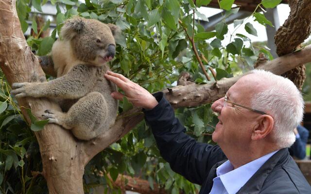 President Reuven Rivlin visits the wildlife hospital at Taronga Zoo in Sydney, February 23, 2020 (Kobi Gideon / GPO)