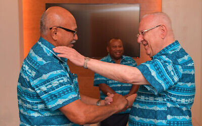 President Reuven Rivlin with Fiji's President Jioji Konrote, Fiji, February 20, 2020 (Kobi Gideon / GPO)