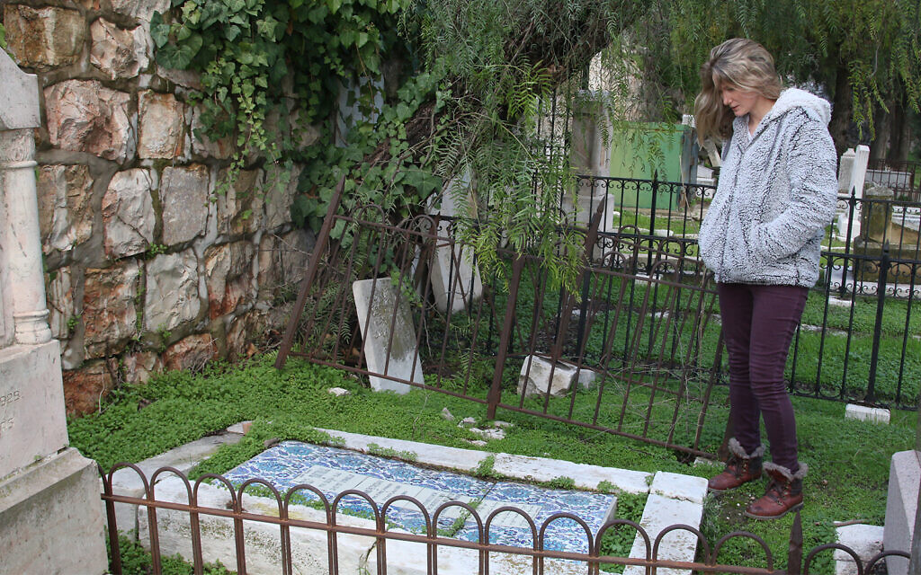 A Protestant cemetery with Armenian tiles covering the grave of Herand Petrosian, who died in 1937. (Shmuel Bar-Am)