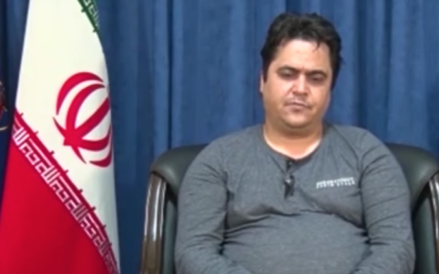 Screen capture from video of Iranian opposition activist Ruhollah Zam after his arrest by the Islamic Revolutionary Guard Corps. (YouTube)