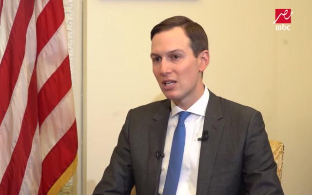Senior White House adviser Jared Kushner is interviewed on the El-Hakaya Egyptian news show on February 1, 2020. (Screen capture/YouTube)