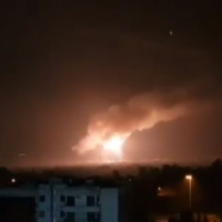 A fireball lights up the night sky near Damascus during an attack on a target near the capital on February 13, 2020. (Screen capture: Al-Ikhbariyah Syria TV)
