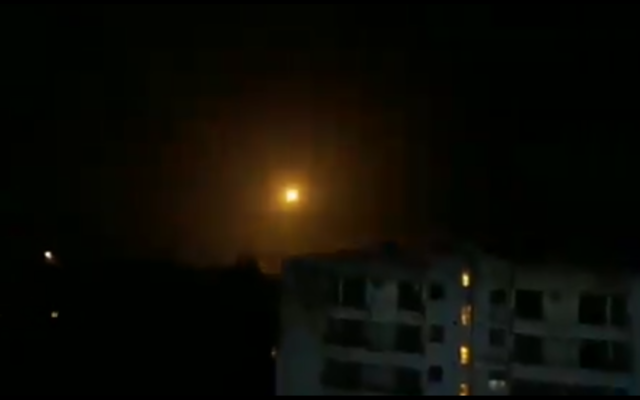 A Syrian anti-aircraft missiles shoots across the sky near Damascus during an attack on a target near the capital on February 13, 2020. (Screen capture: social media)