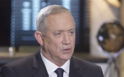 Blue and White chairman Benny Gantz in an interview with Channel 12 news aired on February 21, 2019. (Screen capture: Channel 12)