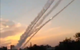 Rockets are fired from the Gaza Strip at southern Israel on February 23, 2020. (Screen capture)