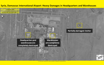 Satellite images purporting to show damage to Damascus International Airport in February 13 airstrikes attributed to Israel, which were released by ImageSat International, on February 17, 2020. (ImageSat International)