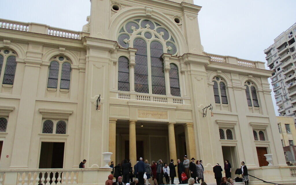 180 Jewish guests from around the world visit the newly renovated Eliyahu Hanavi synagogue in the northwestern Egyptian city of Alexandria on February 14, 2020. (David Lisbona)