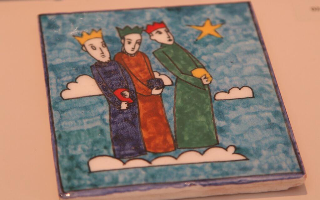A tile produced by the workshop of Armenian artist  Megerdish Karakashian depicts the Biblical Three Wise Men. (Shmuel Bar-Am)