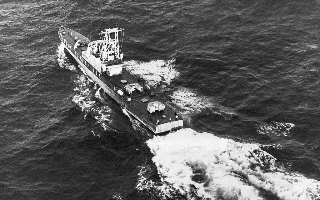 An Israeli gunboat, one of five that disappeared from the French port of Cherbourg on Christmas day, plows through choppy seas 40 miles west of Haifa, December 31, 1970. (AP/Brian Calvert)