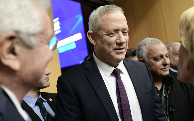 Blue and White chairman Benny Gantz at the annual INSS conference in Tel Aviv, January 29, 2020. (Tomer Neuberg/Flash90)