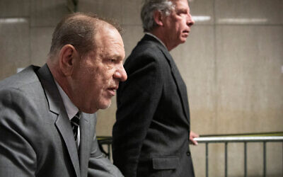Harvey Weinstein arrives at court for his trial on charges of rape and sexual assault, January 31, 2020, in New York. (AP Photo/Mark Lennihan)