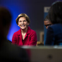 Democratic presidential candidate Sen. Elizabeth Warren speaks with members of the media after a Democratic presidential primary debate, Feb. 25, 2020, in Charleston, South Carolina. (AP Photo/Matt Rourke)