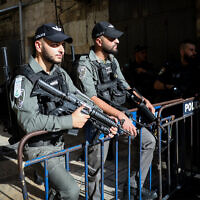 Illustrative: Border police in Jerusalem at the scene of an attempted stabbing, September 26, 2019. (Noam Revkin Fenton/Flash90)