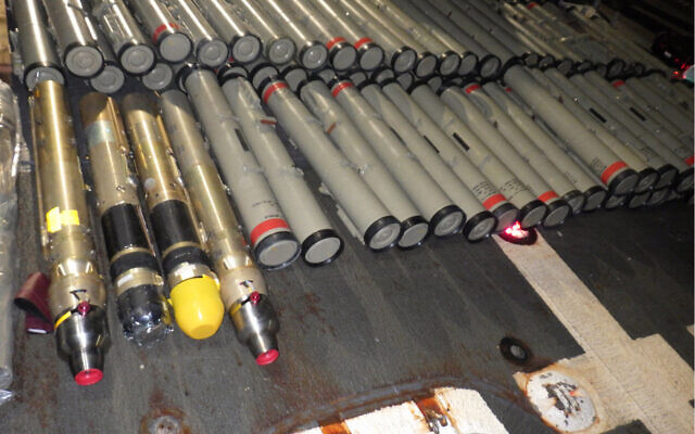 Illegal weapons seized by the US Navy in the Arabian Sea, Feb. 9, 2020. (US Navy/Mass Communication Specialist 2nd Class Michael H. Lehman)