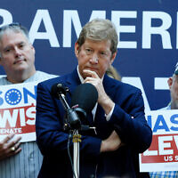 Republican and former US Congressman Jason Lewis announces his run for a Senate seat in Minnesota, Aug. 22, 2019 at the State Fair in Falcon Heights, Minn. (AP Photo/Jim Mone)