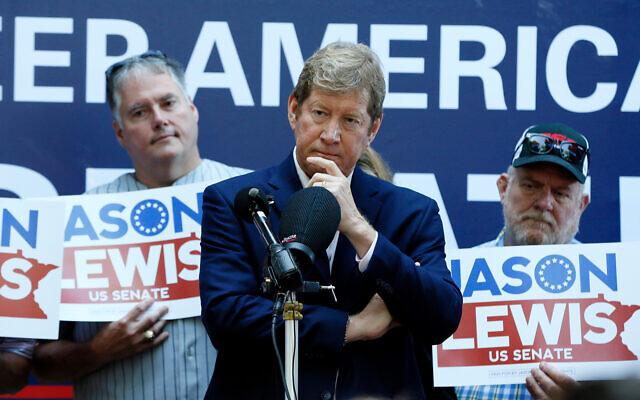 Republican and former US Congressman Jason Lewis announces his run for a Senate seat in Minnesota, August 22, 2019 at the State Fair in Falcon Heights, Minnesota. (AP Photo/Jim Mone)
