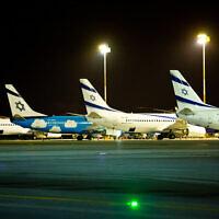 El Al planes at Ben Gurion International Airport in Lod, March 16, 2018. (Moshe Shai/Flash90)