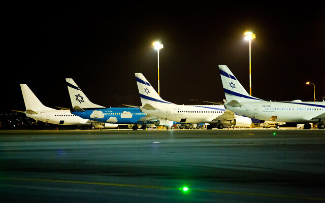El Al planes at Ben Gurion International Airport in Lod, March 16, 2018. (Moshe Shai/Flash90)