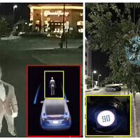 In a Ben-Gurion University study, a Telsa perceives a projected image as a real person, left, and Mobileye's 630 PRO autonomous vehicle system considers an image projected on a tree as a real road sign, right.