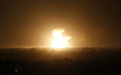 An Israel airstrike in Rafah, southern Gaza Strip, February 23, 2020. (Said Khatib/AFP)