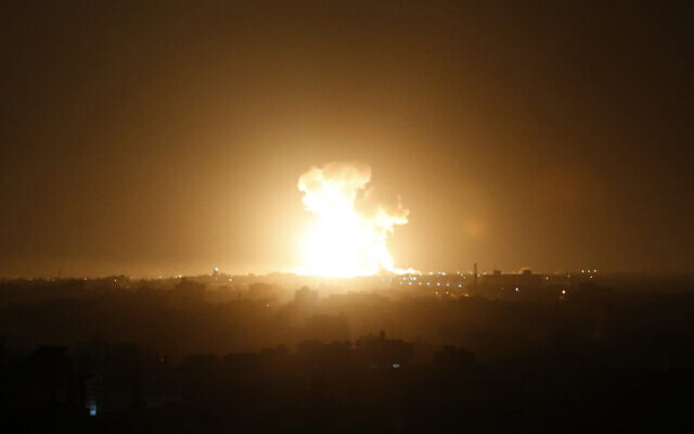 An Israel airstrike in Rafah, southern Gaza Strip, February 23, 2020. (Said Khatib/AFP)