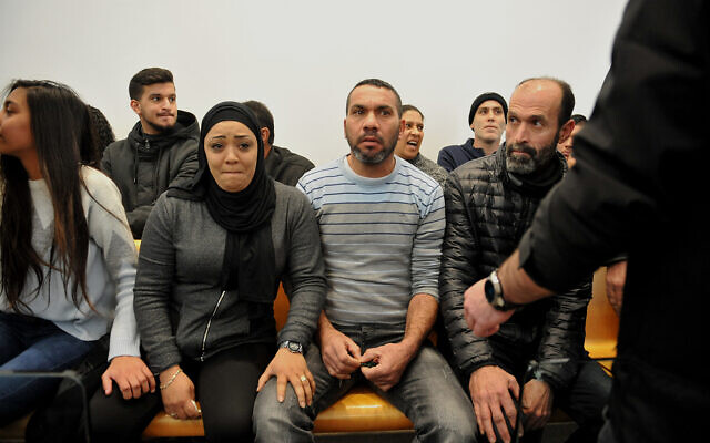 The court hearing for Wisam Abu al-Hasana, indicted for the killing of 17-year-old Adel Khatib in the northern Israeli town of Shfaram, February 03, 2020. (Meir Vaknin/FLASH90)