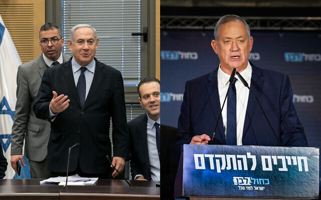 Prime Minister Benjamin Netanyahu, left, and Blue and White party chief Benny Gantz, right. (Flash90)