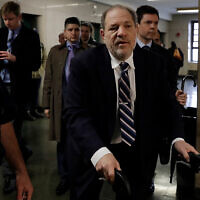 Harvey Weinstein arrives at court for closing statements in his rape trial, in New York, Feb. 13, 2020. (AP/Richard Drew)