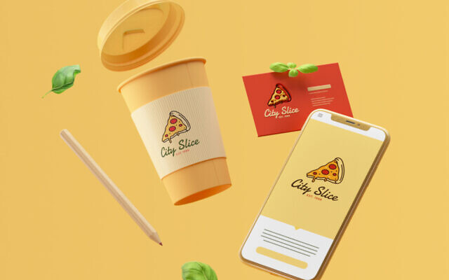An example of an AI-generated branding package created by Fiverr's logo maker. (Courtesy/Fiverr, Titus media)
