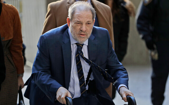 Harvey Weinstein arrives at a Manhattan courthouse for his rape trial in New York, February 14, 2020. (AP Photo/Seth Wenig)
