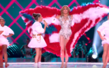 J.Lo and her daughter, Emme, singing Koolulam's version of 'Let's Get Loud' at the Super Bowl on February 2, 2020 (YouTube screenshot)