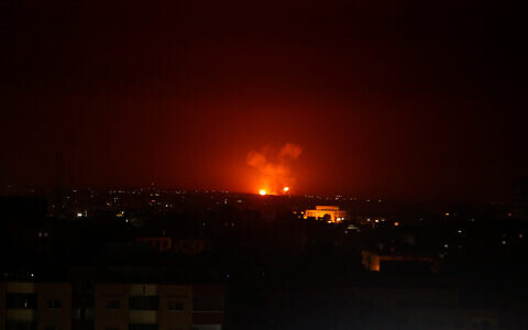 An Israeli airstrike in Gaza City early Monday, Feb. 24, 2020. (AP Photo/Adel Hana)