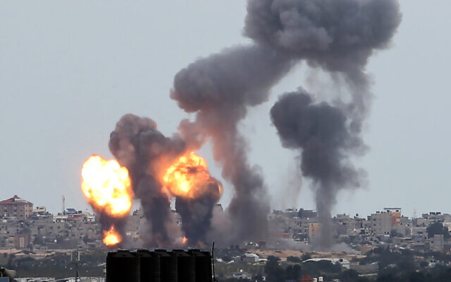 Israeli airstrikes in Khan Younis, southern Gaza, February 24, 2020. (Abed Rahim Khatib/Flash90)