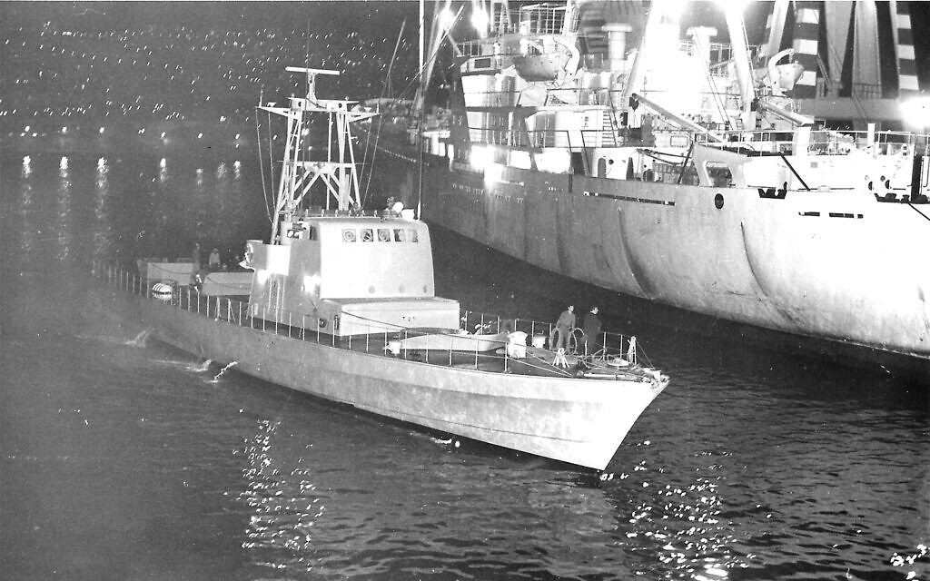 One of the Cherbourg boats arrives in Haifa, December 31, 1969. (Wikimeda commons/Israel Clandestine Immigration and Naval Museum)