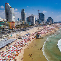 An aerial view of Tel Aviv's beachfront. (Courtesy Tel Aviv Yafo Municipality, Barak Brinker)
