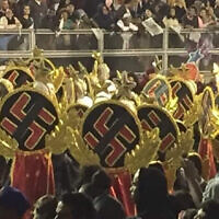 Some dancers in Sao Paulo's huge Carnival parade wore swastikas. (Screenshot/Globo TV via JTA)