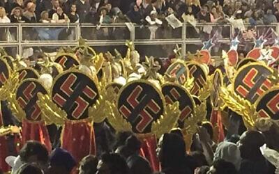 Some dancers in Sao Paulo's huge Carnival parade wore swastikas. (Screenshot/Globo TV via JTA)